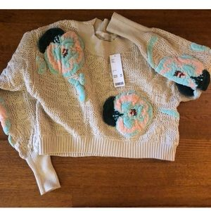 Free people chenille cropped sweater small